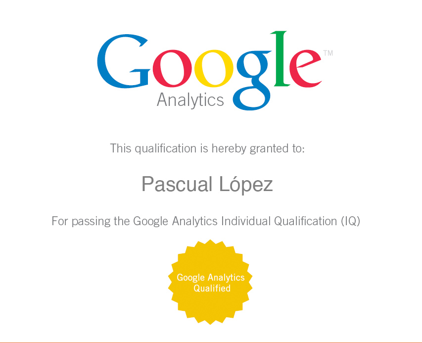 GoogleIQ Analytics Pascual López