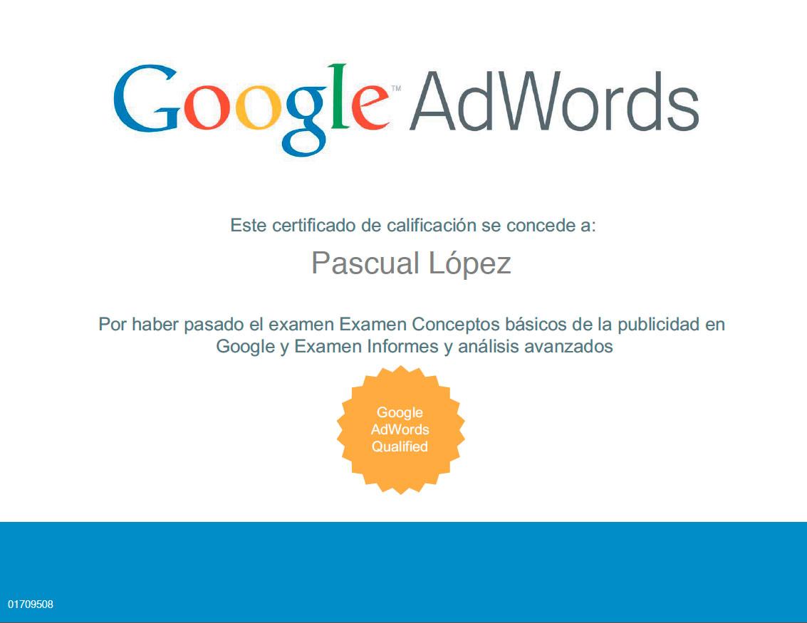 Pascual López Google Adwords Certificado